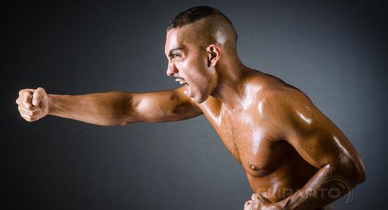 Furious sportive boxing