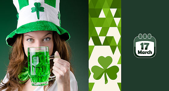 St. Patrick Day girl with beer mug